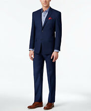 $700 MARC NEW YORK Mens Classic Fit Suit Blue Plaid 2 PIECE JACKET PANTS 48R