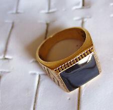 bague chevalière dorée rétro antique plate pierre noir carré 13mm taille 64 ,105