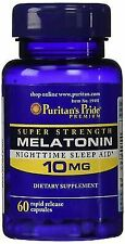 Puritan's Pride Melatonin 10 MG Sleep Aid 60 Count X 3 Bottles 180 Capsules