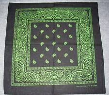 New Unisex 100% Cotton Bandana/Head Wrap/Scarf, Black/Green Paisley