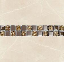 Gold & Silver Glass Mosaic Border Tiles Walls Floors 30cmX5cm Pack Of 10