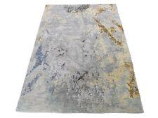 3'x5' Gray Abstract Paint Brush Design Wool and Silk Handmade Rug R46657
