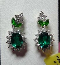 Lab Created Emerald Dangle Earrings with Accent Gemstone in 925 SS TGW 4.43 Cts.