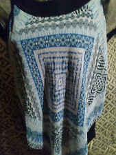 """""""AB Studio""""Womens Sz Large -Woven Popover- Top W/Sheer Ovrly-NEW WITHOUT TAGS"""