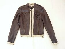 All Saints Cecylia Bomber jacket Brown leather Canvas trim zips VGC UK 8/10