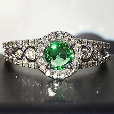 Green Tsavorite Garnet & Diamond Ring New Natural 14k White Gold Size 6.5 NWT