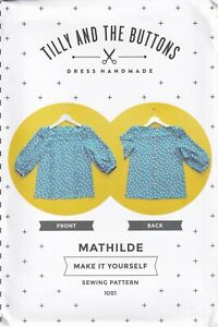 Tilly & The Buttons Sewing Pattern for The Mathilde Blouse Top with Front Tucks