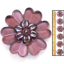 Reduced! 22mm Vintage Czech PURPLE Mirror Violet Daisy Flower Glass Buttons 6pc