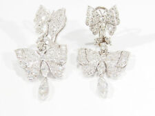 Platinum Diamond Butterfly Earrings White Art Deco Style