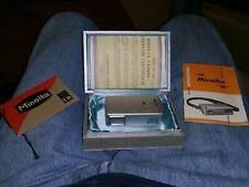 Minolta 16 Subminiature Spy Camera  Rokkor Lens Silver  Box Instructions Tags