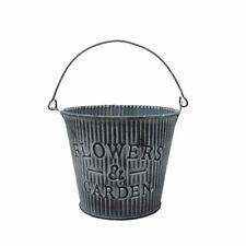 Rustic Flowers & Garden Metal Zinc Bucket Plant Pot x 12cm - Herb Flower Pot