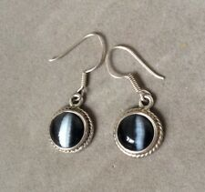 Sterling Silver Round Black Onyx Hook Pierced Earrings - Mexico 925