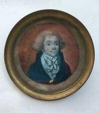 Miniature peinte ancienne à vue ronde, Encadrée, Portrait d'homme, XIXe
