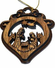 Two Layers Mahogany with Olive wood Holy Family Nativity scene Ornament gift