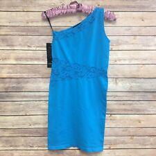 Bebe Women's Blue Gem One Shoulder Sleeveless Stretch Bodycon Dress Size M/L NWT