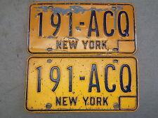 Pair of 1973 -1980 New York NY License Plates Blue on Orange 191-ACQ ~FastShip~