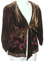 HALE BOB Embroidered Eyelet Velvet Jacket Sz XS Brown Silk Rayon Blazer