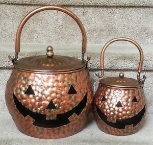 2 Stamped Metal Jack O'Lantern Pumpkin Cauldrons Candle Holders w/ Lids Copper