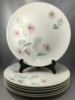 "6 Royal china STARDUST Flower Bouquet Mid Century 10"" Dinner Plates Floral"