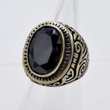 MEN RING BLACK ONYX STAINLESS STEEL SILVER BRONZE SOLITAIRE CARVED VTG SIZE 9.5