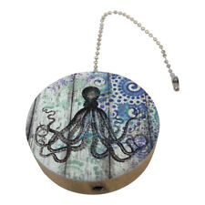 Blue Nautical Octopus Print Round Wood Fan / Light Pull