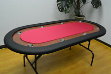 "72"" Texas Holdem Poker Table Folding Legs Red Color Felt"