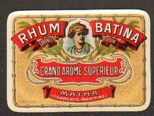 MATHA (17) ETIQUETTE de RHUM BATINA 12x8,8cm.