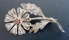 K D STERLING PIN/BROOCH-BEAUTIFUL FLOWER -RHINESTONES & MARCASITE-6gr- S-01-6 gr