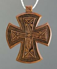New! Unique Wooden Handmade Neck Cross Ethnic Style + Leather Chain