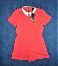 'ROCK & RAGS by FIRETRAP' CORAL & WHITE PLAYSUIT: MEDIUM 12-14UK (40-42EUR) NEW