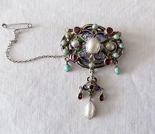 Beautiful Vintage Silver Austro Hungarian Brooch Pearls Garnet Turquoise Stones