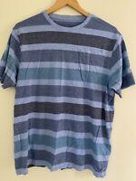Marks and Spencer Essentials T-Shirt Blue Green Stripes Size Medium Short Sleeve
