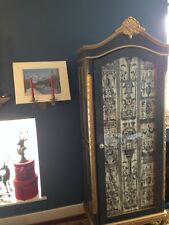 """French Armoire, in Grey & Gold. Glazed Door Displaying """"Timney Fowler"""" Fabric."""