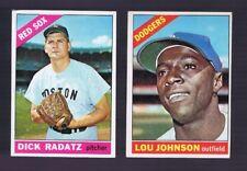 2 pc LOT: 1966 Topps Baseball #13 Lou Johnson and #475 Dick Radatz