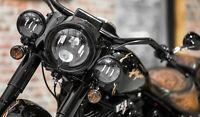 LED Zusatzscheinwerfer schwarz Harley Davidson Heritage Deluxe Fat Boy 4,5 Zoll