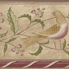 Folk Art Birds Flower Berry & Leaf - 60 feet Free Ship - Wallpaper Border A413