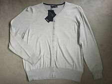 M&S CREW NECK CARDIGAN IN GREY MARL WITH SMALL GREY/SILVER METAL BUTTONS-24-BNWT