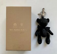 Authentic Burberry Black Leather Thomas Bear Bag Charm Keyring .
