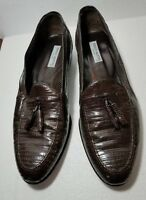 Rodolfo Valentino Collection Brown Leather Penny Loafers Reptile Skin  SZ 12
