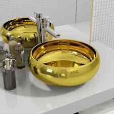 vidaXL Basin Ceramic Gold Above Counter Bathroom Wash Hand Bowl Sink Unit