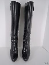 Gucci Boots Heels Knee High Sz 8.5 Black Leather Pointy Toe Platform Side Zip