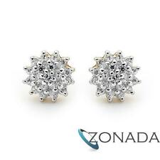 New Classic SimulatedDiaomond Cluster 9k 9ct Solid Yellow Gold Studs Earrings