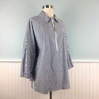 Size XL MICHAEL KORS Women's Blue White Shirt Top Blouse Tunic Extra Large NWT