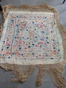 blanket, beige shawl with details .Manton Manila   (Canada)