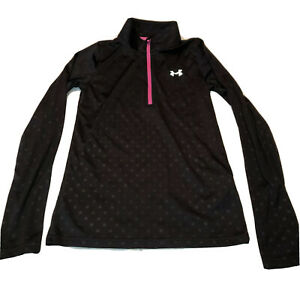 Under Armour Loose Youth Girls M Long Sleeve Athletic Shirt Black Polka Dot YMD