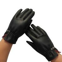 1Pair Womens Touch Screen Gloves Winter Warm Leather Gloves Black Freeshipping