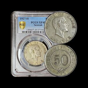 1927 Sarawak 50 Cents (Silver) - PCGS XF45 - Colonial Malaysia with H Mintmark