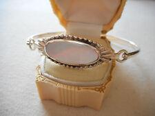 Vintage Sterling Silver Mother of Pearl Bangle Bracelet  212124
