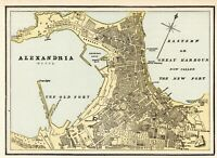 1890 Antique Alexandria Street Map Wall Art City Map of Alexandria Egypt  #6576