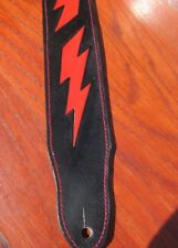 "CUSTON PADDED 2 1/2"" LEATHER GUITAR STRAP.(LIGHTNING BOLT)"